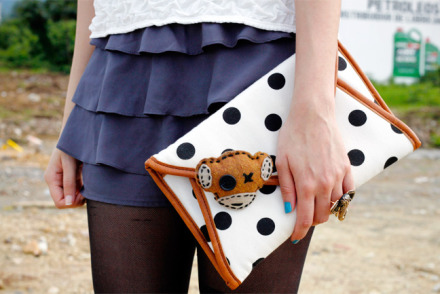 Birthday outfit detail - ALDO polkadot clutch and Monk3y Jam pin by Roberto Johnson